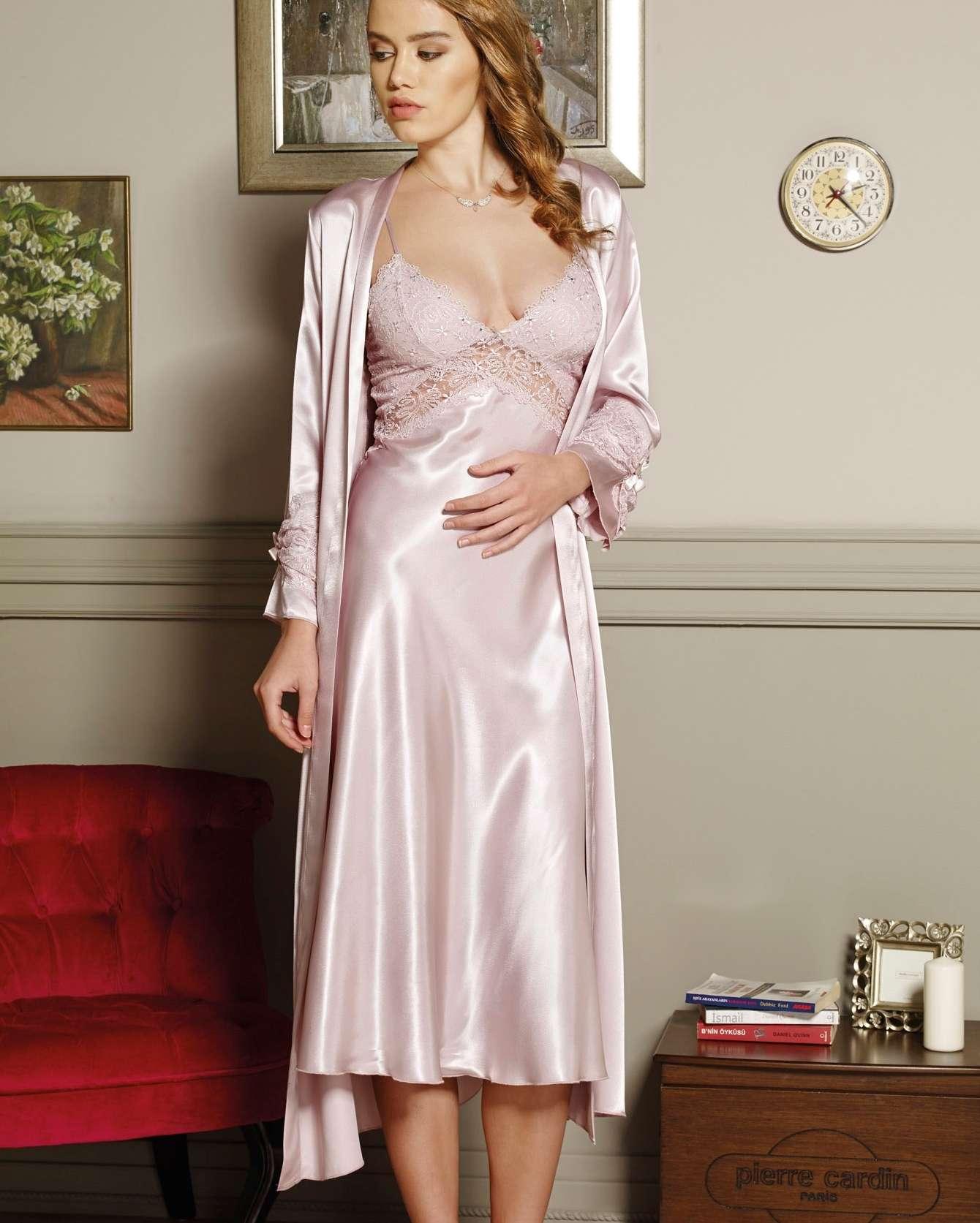 Pierre Cardin iç giyim Çeyizlik 6lı Saten Gecelik, Pijama, Sabahlık ve Şort Takımı 6995