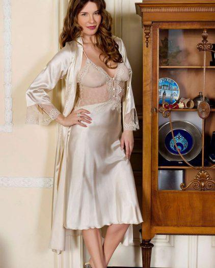 Pierre Cardin iç giyim Çeyizlik 6lı Saten Gecelik, Pijama, Sabahlık ve Şort Takımı 7350