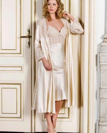 Pierre Cardin iç giyim Çeyizlik 6lı Saten Gecelik, Pijama, Sabahlık ve Şort Takımı 7470