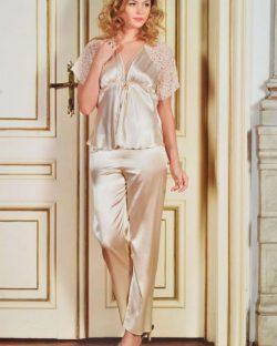 Pierre Cardin iç giyim Çeyizlik 6lı Saten Gecelik, Pijama, Sabahlık ve Şort Takımı 7470 saten pijama
