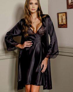 Pierre Cardin iç giyim Saten Gecelik Sabahlık Takımı 4105