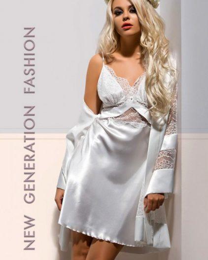 X-Lady iç giyim, Çeyizlik, Dantelli, Saten Gecelik ve Sabahlık Takımı 4554
