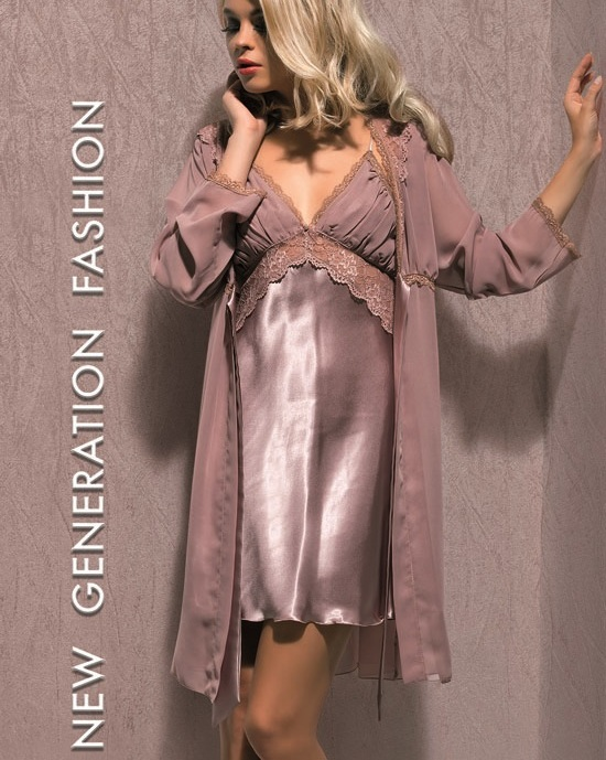 X-Lady iç giyim, Dantelli, Saten Babydoll Gecelik 4552 sabahlık
