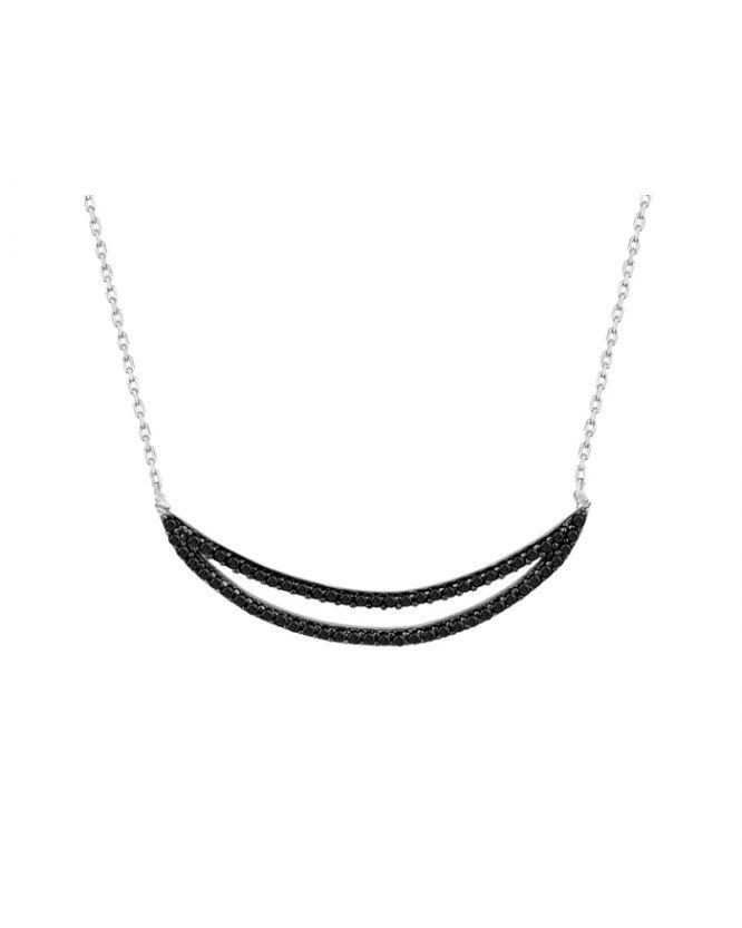 925 Ayar Siyah Zirkon Taşlı Gümüş Kolye R1076