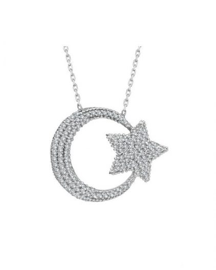 925 Ayar Zirkon Full Taşlı Ay Yıldızlı Gümüş Kolye R1074
