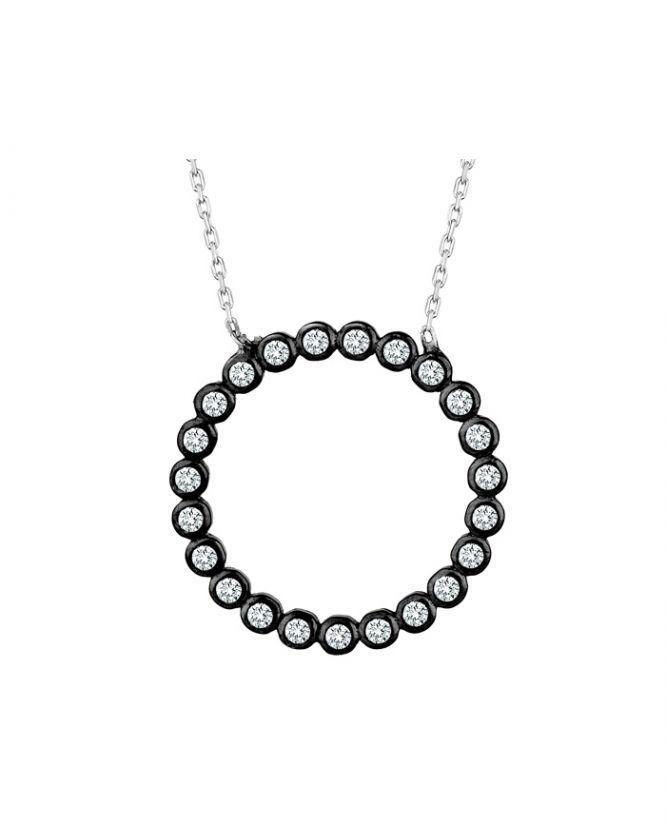 925 Ayar Zirkon Siyah Çember Taşlı Gümüş Kolye R1082