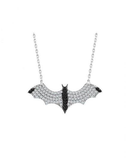 925 Ayar Zirkon Siyah Taşlı Batman Gümüş Kolye R1080