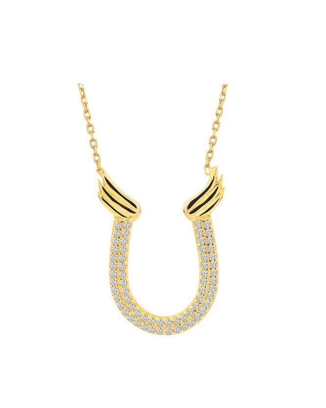 925 Ayar Zirkon Taşlı Altın Kaplama Gümüş Kolye R1071