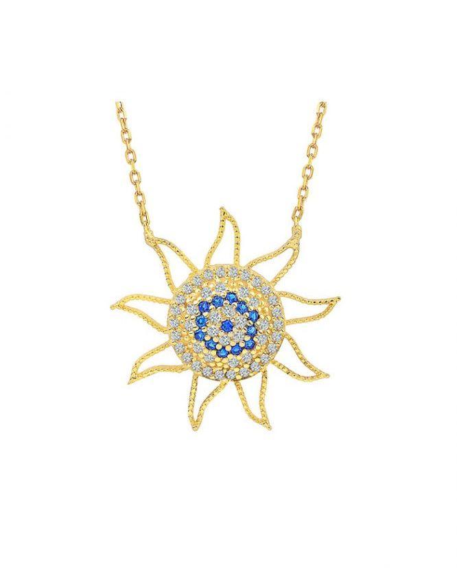 925 Ayar Zirkon Taşlı Altın Kaplama Güneş Temalı Gümüş Kolye R1090