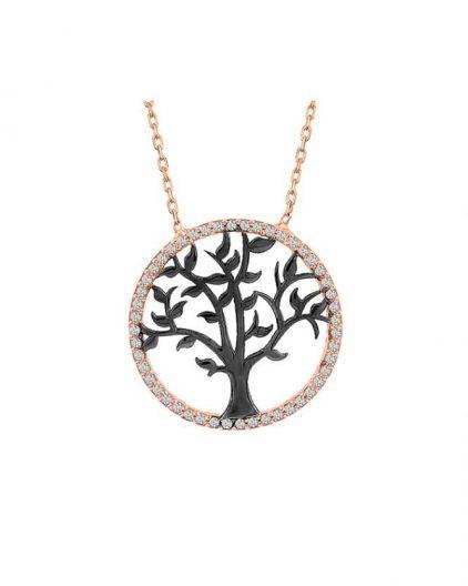 925 Ayar Zirkon Taşlı Altın Kaplama Hayat Ağacı Temalı Gümüş Kolye R1066