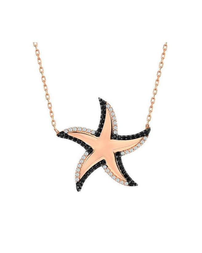 925 Ayar Zirkon Taşlı Altın Kaplamalı Deniz Yıldızı Gümüş Kolye R1067