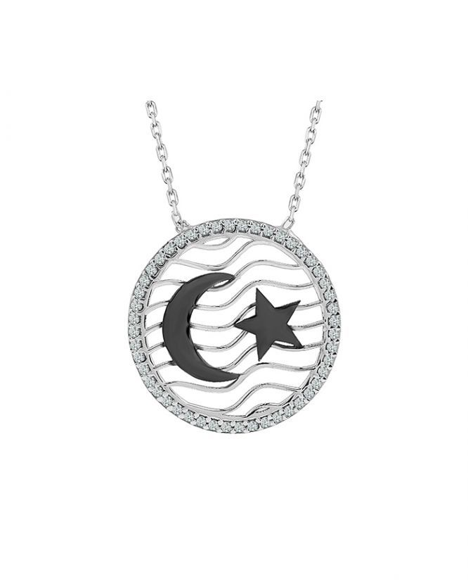 925 Ayar Zirkon Taşlı Ay Yıldız Gümüş Kolye R1064