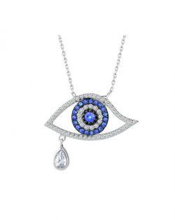 925 Ayar Zirkon Taşlı Göz Damlası Gümüş Kolye R1077