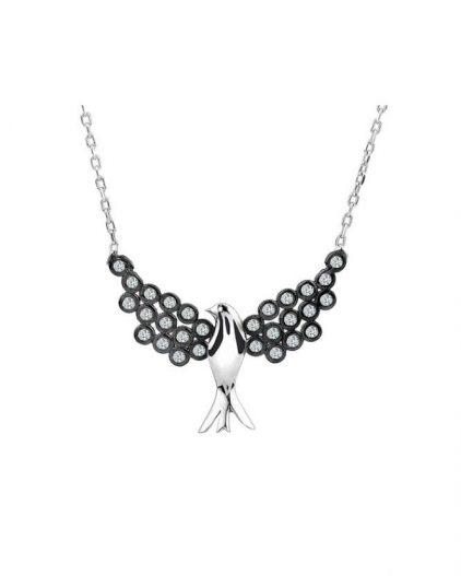 925 Ayar Zirkon Taşlı Kuş Temalı Gümüş Kolye R1100