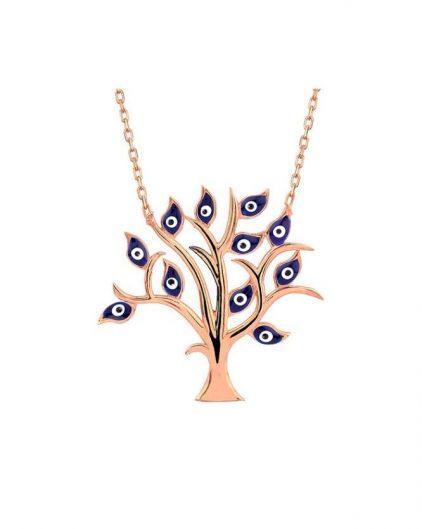 925 Ayar Zirkon Taşlı Nazar Boncuklu Hayat Ağacı Gümüş Kolye R1086