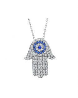 925 Ayar Zirkon Taşlı Nazarlı Fatma Ana Gümüş Kolye R1079