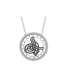 925 Ayar Zirkon Taşlı Osmanlı Tuğrası Gümüş Kolye R1065