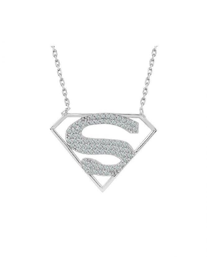 925 Ayar Zirkon Taşlı Supergirl Temalı Gümüş Kolye R1088