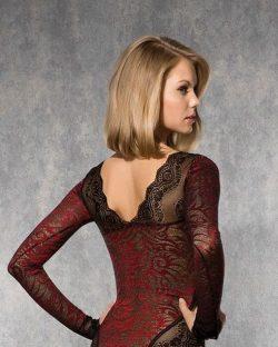 Doreanse iç giyim Pamuklu, Modal Kumaş ve Likralı Alttan Çıtçıtlı Dantelli Uzun Kollu Bayan Body 12443 arka