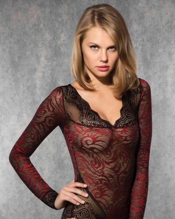 Doreanse iç giyim Pamuklu, Modal Kumaş ve Likralı Alttan Çıtçıtlı Dantelli Uzun Kollu Bayan Body 12443