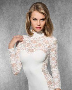 Doreanse iç giyim Pamuklu, Modal Kumaş ve Likralı Alttan Çıtçıtlı Dantelli Uzun Kollu Bayan Body 12444