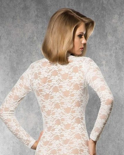 Doreanse iç giyim Pamuklu, Modal Kumaş ve Likralı Alttan Çıtçıtlı Dantelli Uzun Kollu Bayan Body 12444 arka