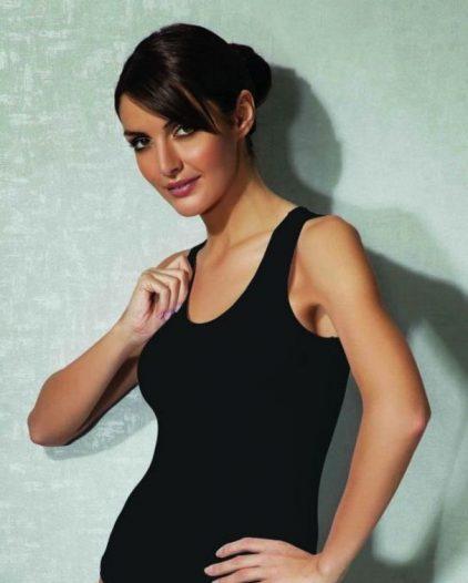 Doreanse iç giyim Pamuklu, Modal Kumaş ve Likralı Alttan Çıtçıtlı Kalın Askılı Bayan Body 12110 siyah