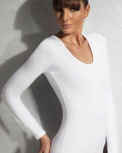 Doreanse iç giyim Pamuklu, Modal Kumaş ve Likralı Alttan Çıtçıtlı Uzun Kollu Bayan Body 12401 beyaz