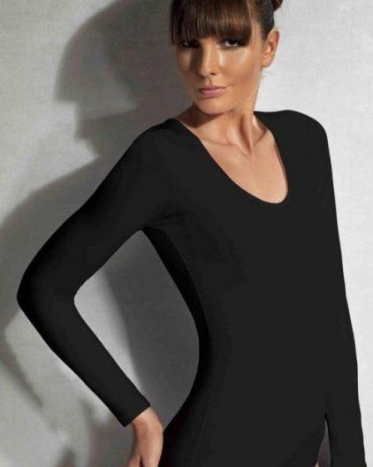 Doreanse iç giyim Pamuklu, Modal Kumaş ve Likralı Alttan Çıtçıtlı Uzun Kollu Bayan Body 12401 siyah