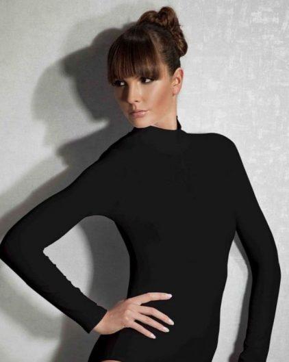 Doreanse iç giyim Pamuklu, Modal Kumaş ve Likralı Alttan Çıtçıtlı Uzun Kollu Boğazlı Bayan Body 12407 siyah