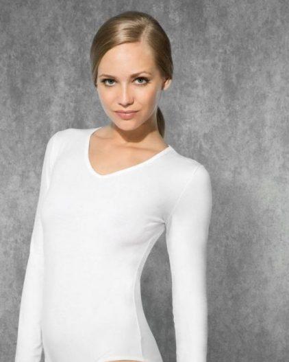Doreanse iç giyim Pamuklu, Modal Kumaş ve Likralı Alttan Çıtçıtlı V Yaka Uzun Kollu Bayan Body 12446 beyaz