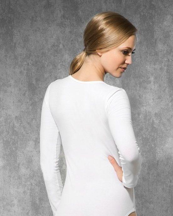 Doreanse iç giyim Pamuklu, Modal Kumaş ve Likralı Alttan Çıtçıtlı V Yaka Uzun Kollu Bayan Body 12446 beyaz arka