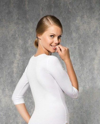Doreanse iç giyim Pamuklu, Modal Kumaş ve Likralı Alttan Kopçalı Truvakar Kollu Bayan Body 12330 arka
