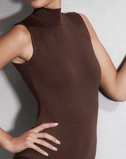Doreanse iç giyim Sıfır Kol Yarım Boğazlı Pamuklu, Modal Kumaş ve Likralı Alttan Çıtçıtlı Bayan Body 12107 kahve