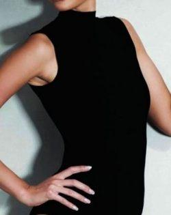 Doreanse iç giyim Sıfır Kol Yarım Boğazlı Pamuklu, Modal Kumaş ve Likralı Alttan Çıtçıtlı Bayan Body 12107 siyah