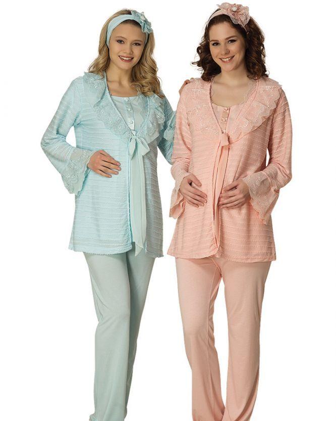 Mecit Üçlü Güpürlü Triko Hamile & Lohusa Pijama Takımı 1402