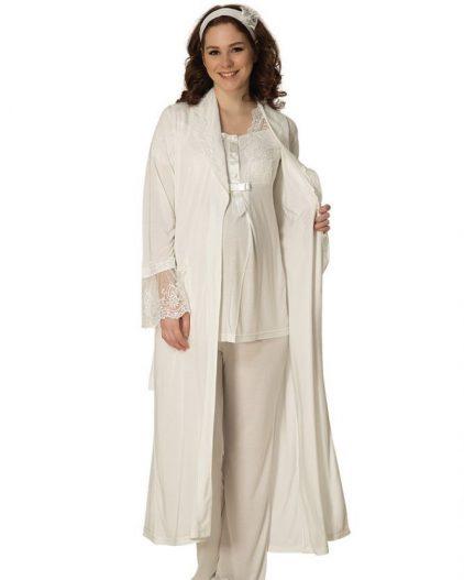 Mecit Üçlü Güpürlü Uzun Sabahlıklı Hamile & Lohusa Pijama Takımı 1800 ekru