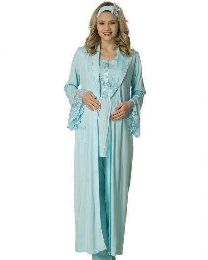 Mecit Üçlü Güpürlü Uzun Sabahlıklı Hamile & Lohusa Pijama Takımı 1800 turkuaz