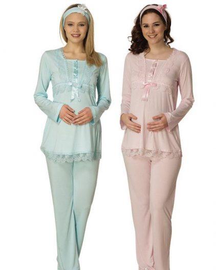 Mecit Dantel İşlemeli Hamile & Lohusa Pijama Takımı 1819