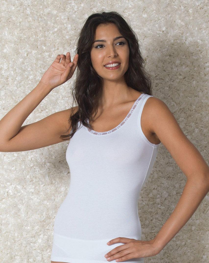 Doreanse iç giyim, Likralı Modal Kumaş Pamuklu Kalın Askılı Bayan Atlet 9307 beyaz
