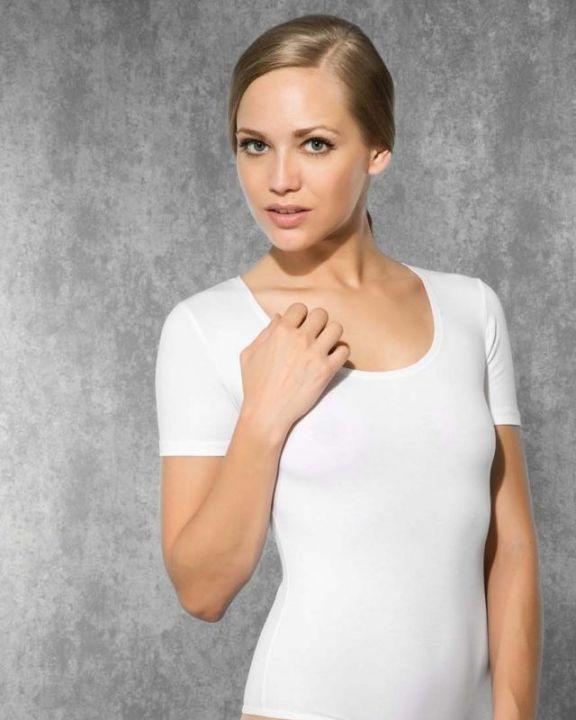 Doreanse iç giyim Pamuklu, Modal Kumaş ve Likralı Alttan Kopçalı Geniş Yakalı Yarım Kollu Bayan String Body 12320