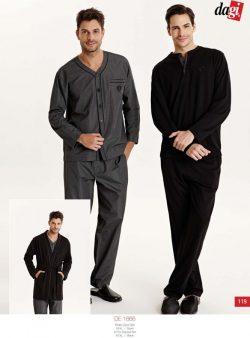 Dagi 5'li Erkek Pijama ve Robdöşambr Takım 1666 siyah