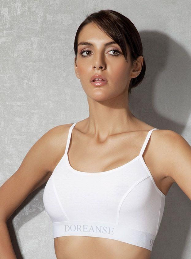 Doreanse, İnce Askılı Sporcu Sütyen 14120 beyaz