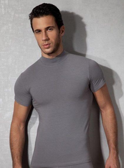Doreanse, Amerikan Yaka Slim Fit Erkek T-shirt 2730 gri