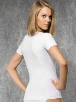 Doreanse, Geniş Yakalı Likralı Basic Bayan T-Shirt 9388 arka