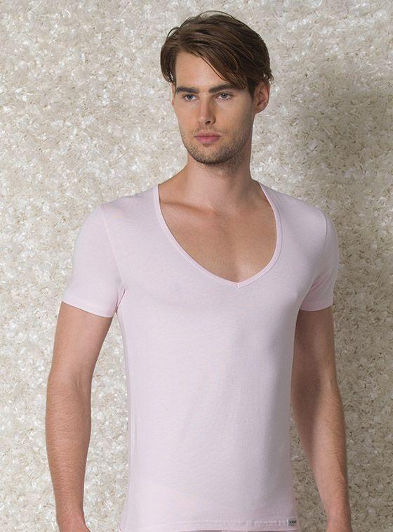 Doreanse, Geniş Yakalı Slim Fit Erkek T-shirt 2820 beyaz