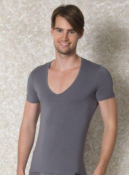 Doreanse, Geniş Yakalı Slim Fit Erkek T-shirt 2820 gri