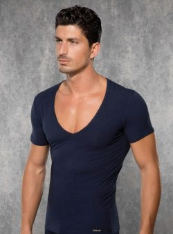 Doreanse, Geniş Yakalı Slim Fit Erkek T-shirt 2820 lacivert