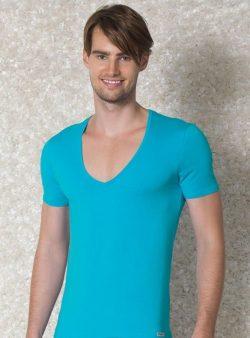 Doreanse, Geniş Yakalı Slim Fit Erkek T-shirt 2820 turkuaz