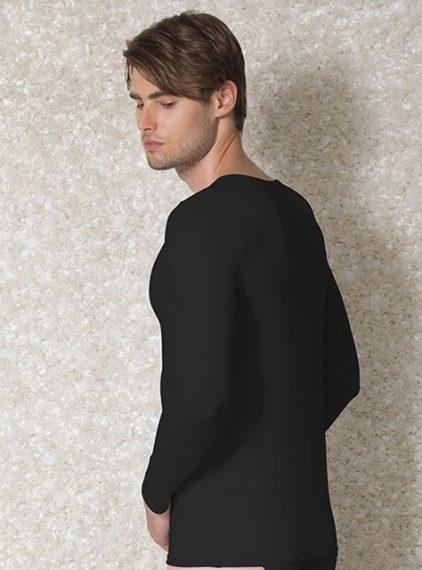 Doreanse, Geniş Yakalı Slim Fit Erkek T-shirt 2920 siyah arka